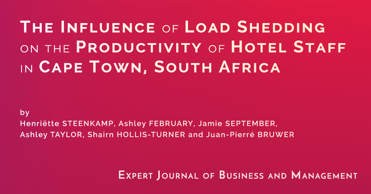 The Influence of Load Shedding on the Productivity of Hotel