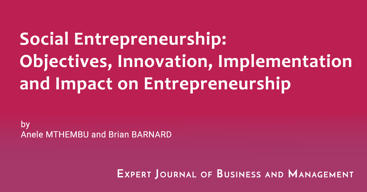 Social Entrepreneurship Objectives Innovation